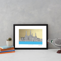 Battersea Power Station Blue and Gold A3 Art Map Will Clarke for We Built This City 3