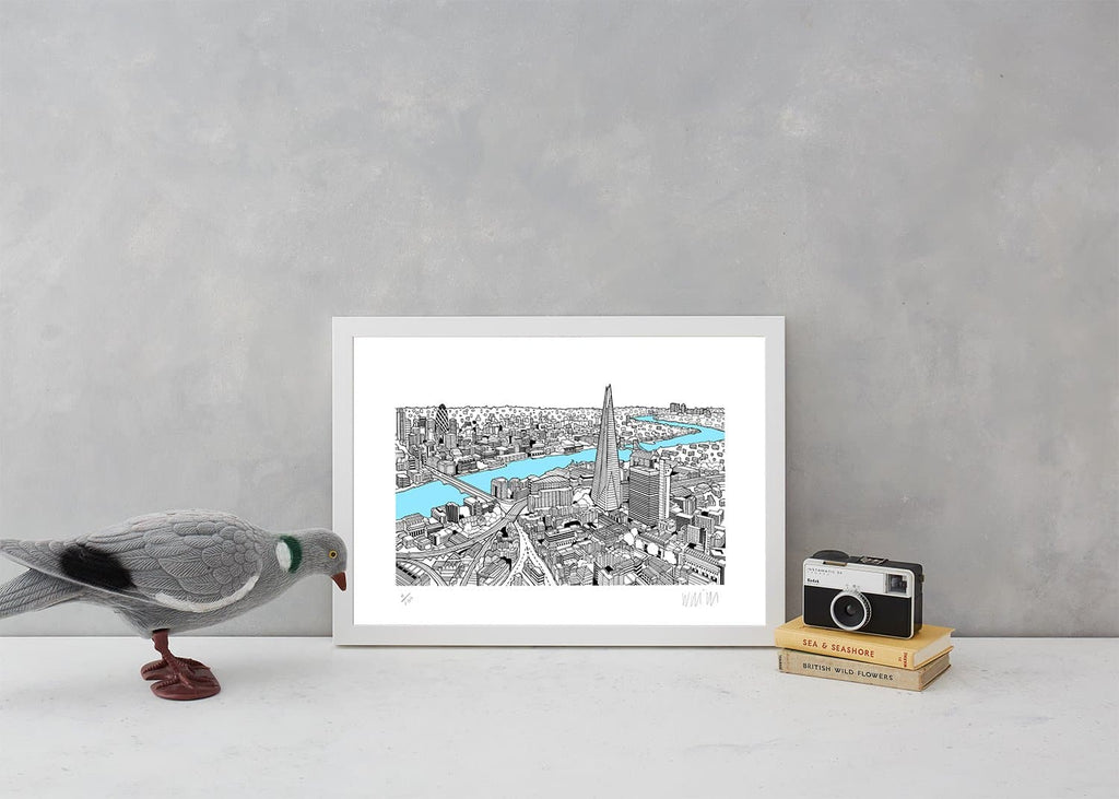 The Shard Light Blue A3 Art Map Will Clarke for We Built This City 2