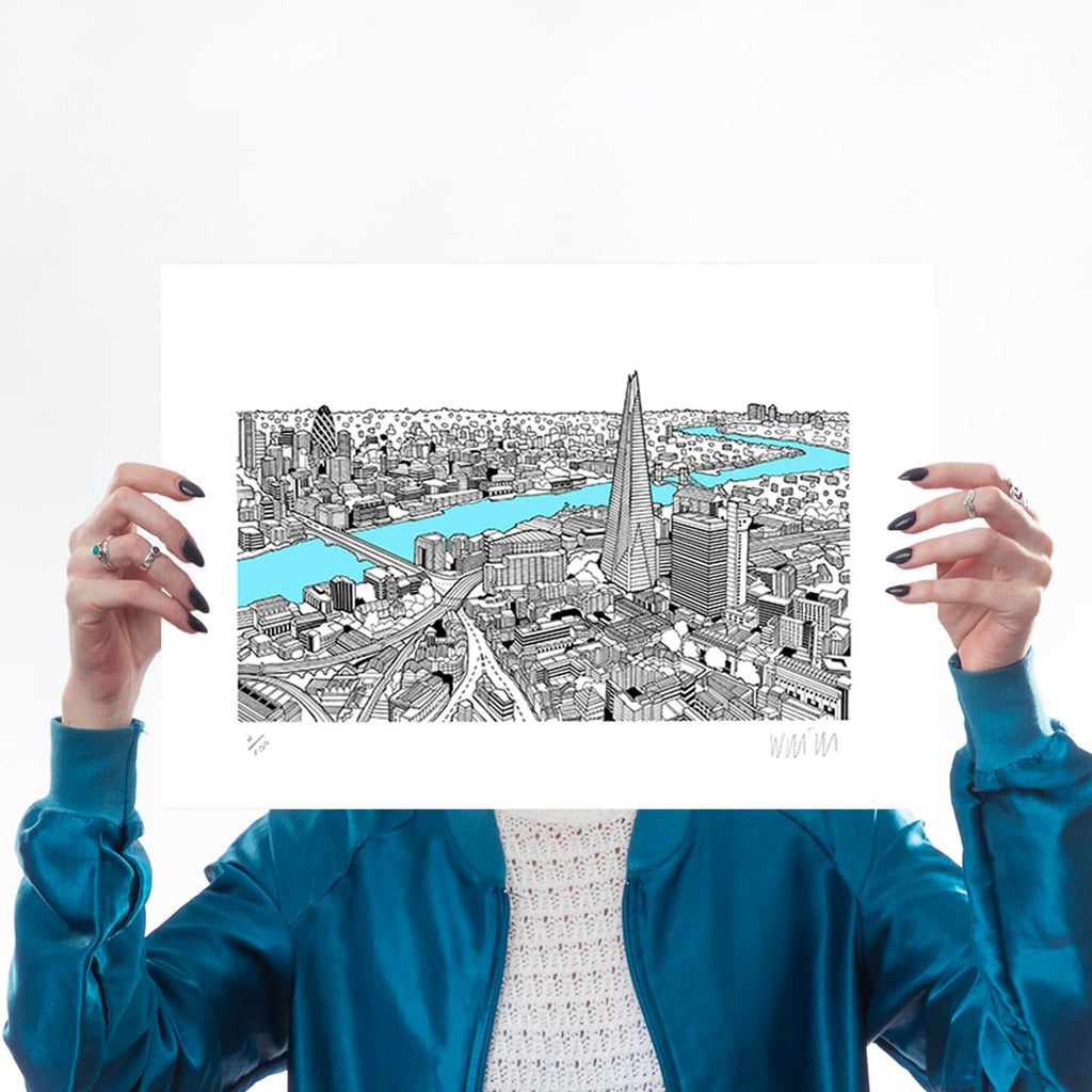 The Shard Light Blue A3 Art Map Will Clarke for We Built This City 1