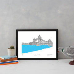 Tower Bridge Turquoise A3 Art Map Will Clarke for We Built This City 2
