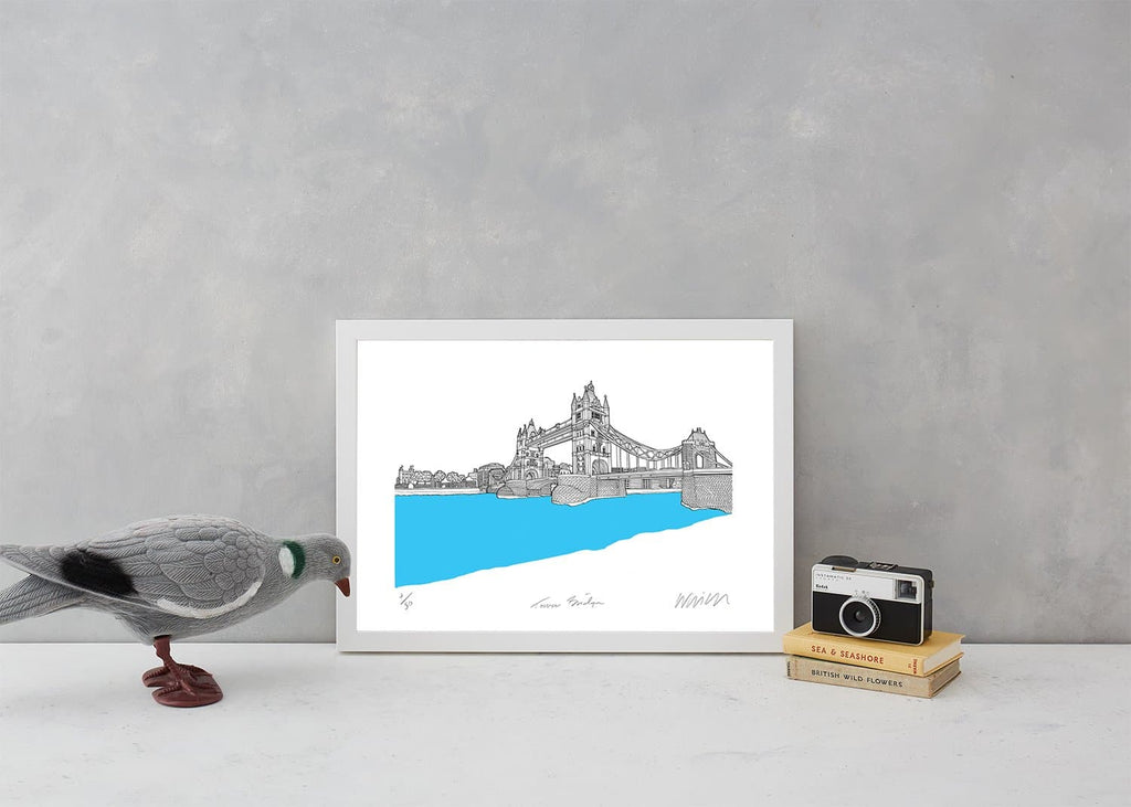 Tower Bridge Turquoise A3 Art Map Will Clarke for We Built This City 3