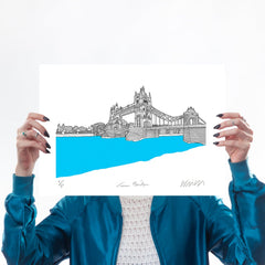 Tower Bridge Turquoise A3 Art Map Will Clarke for We Built This City 1