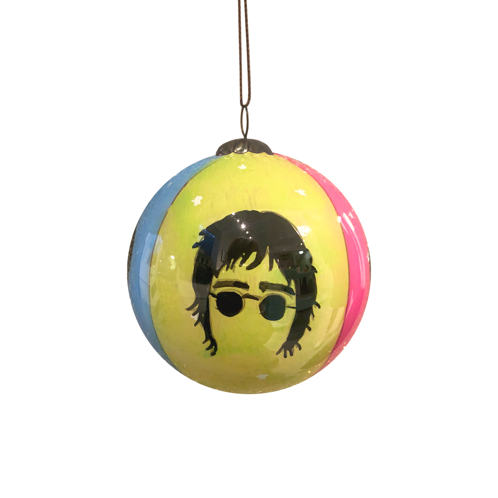 The Beatles Hand Painted Bauble - Orange, Blue, Green & Pink