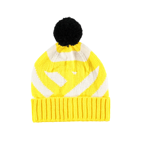Stripe Beanie Hat - Yellow