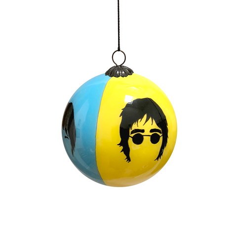 The Beatles Hand Painted Bauble - Blue & Yellow