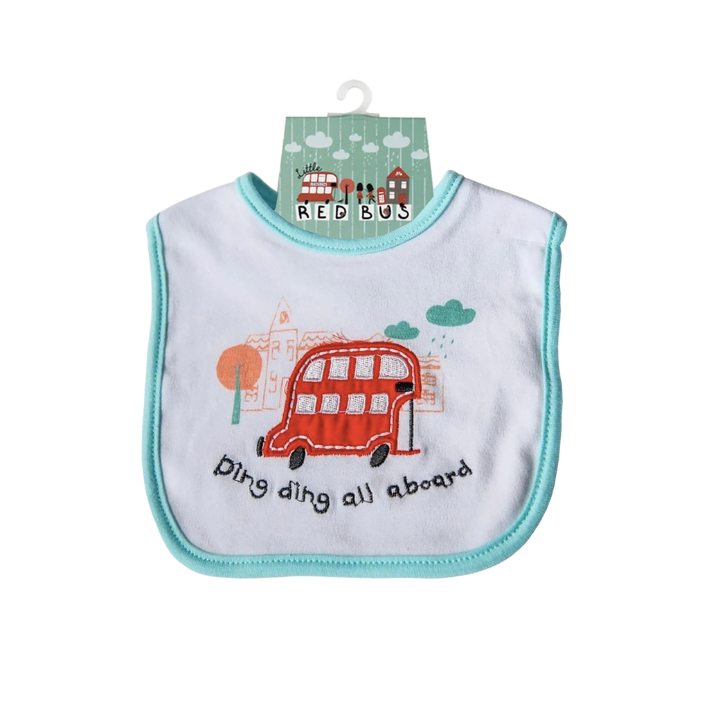 Little Red Bus Baby Bib