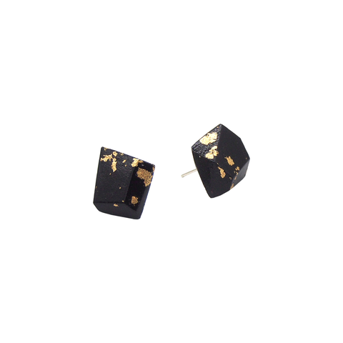 Metallic Black Stud Earrings