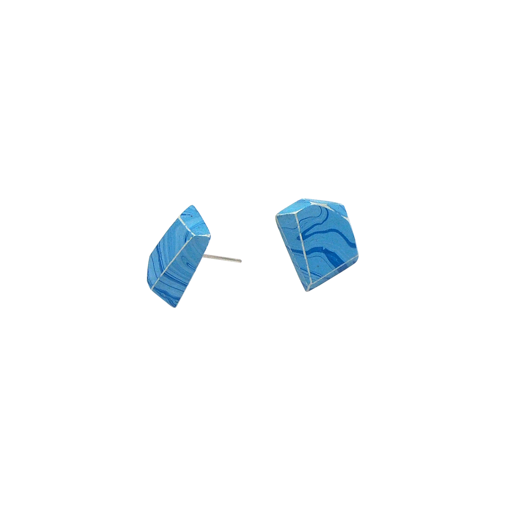 Marble Blue Stud Earrings