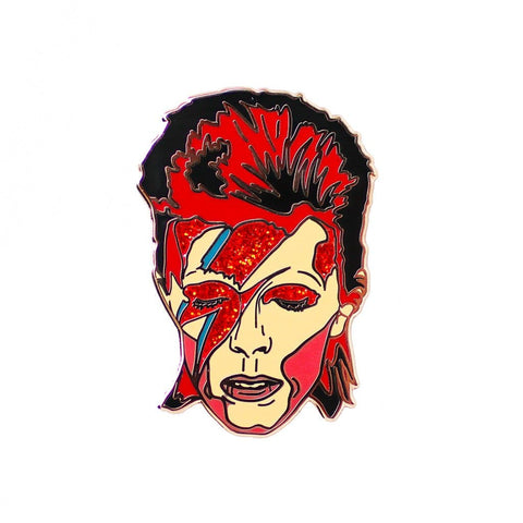 David Bowie Enamel Glitter Pin