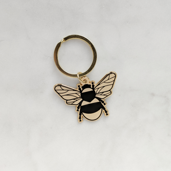 Gold Bee Enamel Keyring Travel Accessories - Keyrings Moonlit Press for We Built This City 3