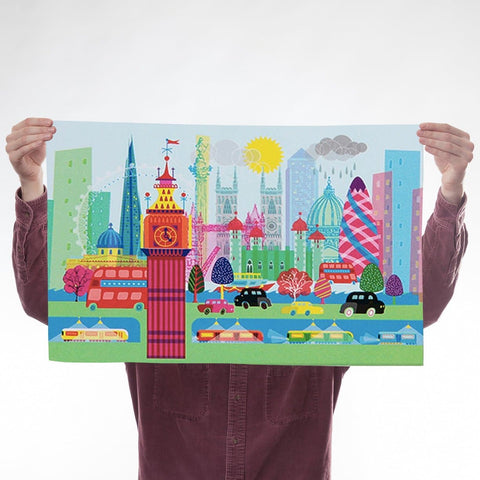 Colourful London Tea towel