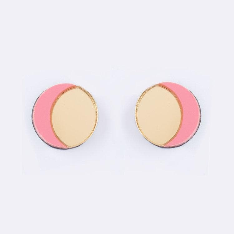 Crescent Moon Earrings - Gold and Peach