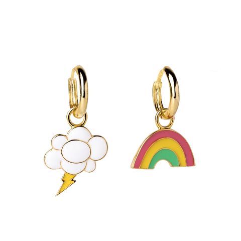 Rainbow & Cloud Hoop Earrings in Glass Bottle
