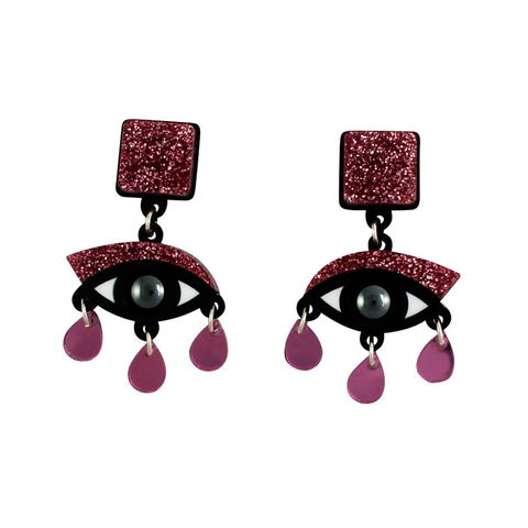 Eyes Drop Earrings (Pink Glitter)