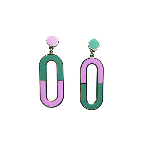 Loop Drop Earrings - Purple and Green