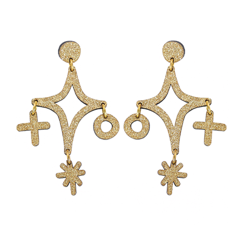 Magic Cluster Drop Stud Earrings - Gold