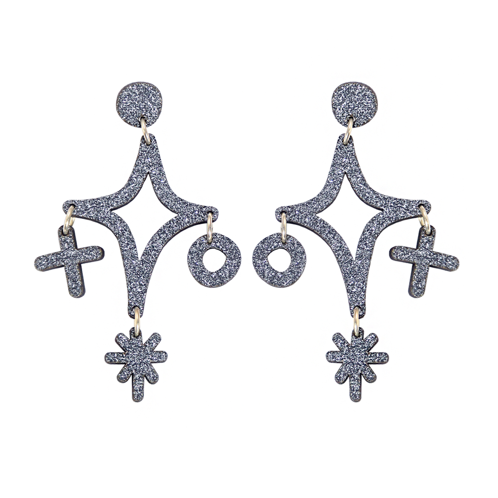 Magic Cluster Drop Stud Earrings - Grey