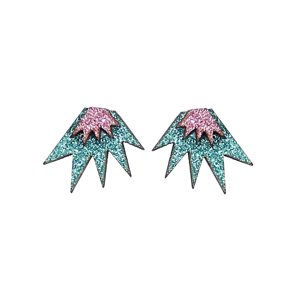 Bang Bang Mini Stud Earrings - Jade & Pink Jewellery - Earrings Kam Creates for We Built This City 1