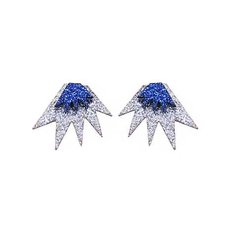 Bang Bang Mini Stud Earrings - Silver & Blue