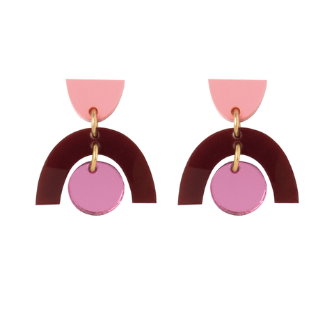 Sophia Earrings - Peach, Rose and Maroon