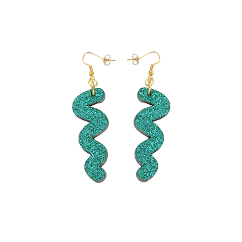 Squiggle Hook Glitter Earrings - Emerald