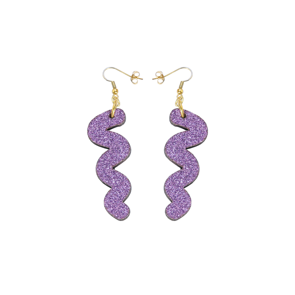 Squiggle Hook Glitter Earrings - Lavender Jewellery - Earrings Kam Creates for We Built This City 1