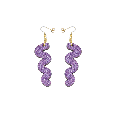 Squiggle Hook Glitter Earrings - Lavender