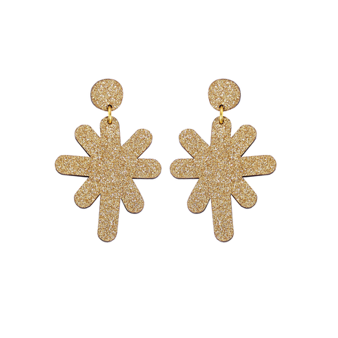 Magic Stardust Giant Drop Stud Earrings - Gold