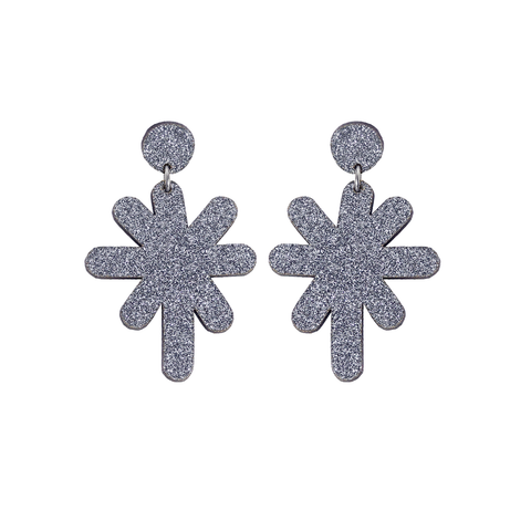 Magic Stardust Giant Drop Stud Earrings - Grey