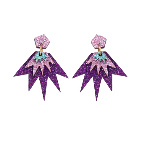 Bang Bang Drop Stud Earrings - Aubergine, Pink & Jade