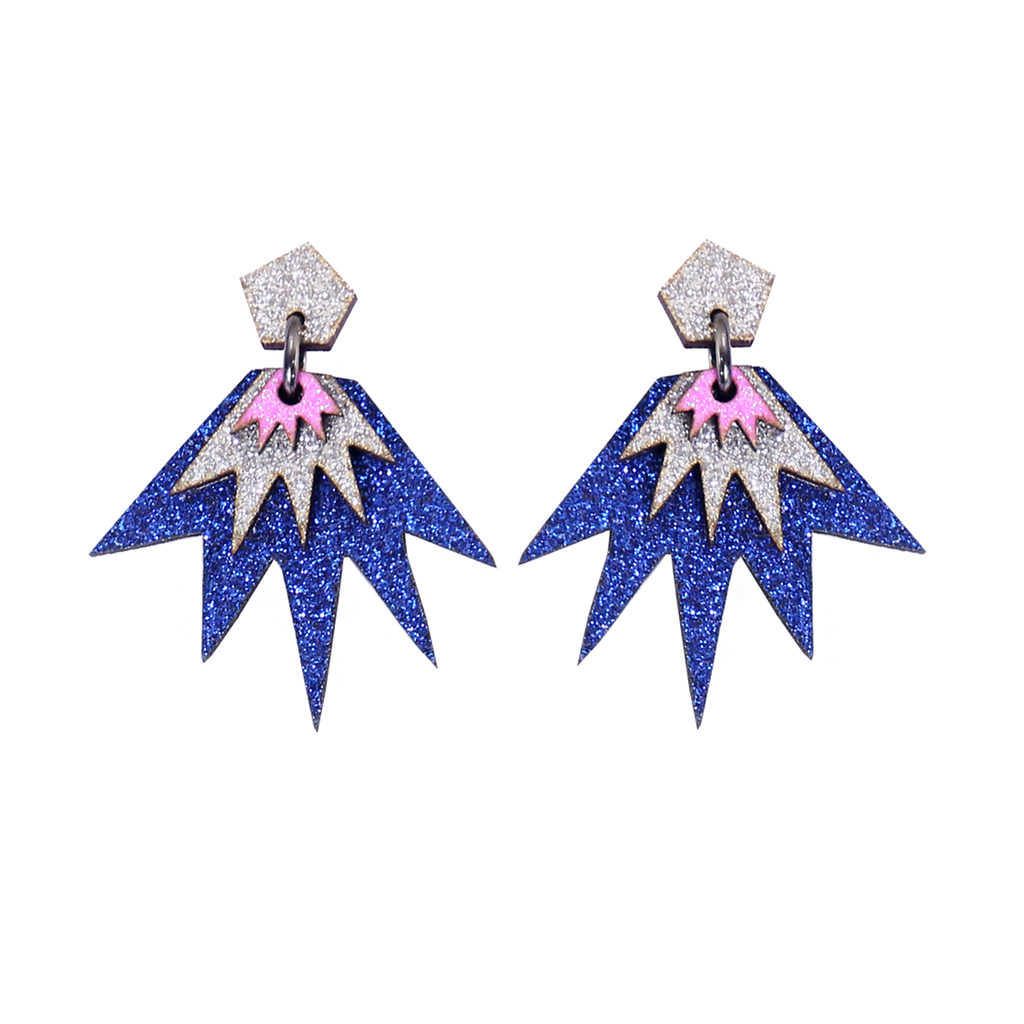 Bang Bang Drop Stud Earrings - Blue, Silver & Pink