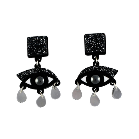 Eyes Drop Black Glitter Earrings