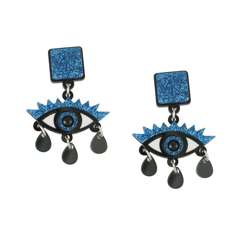An Eye For An Eye Blue Glitter Earrings