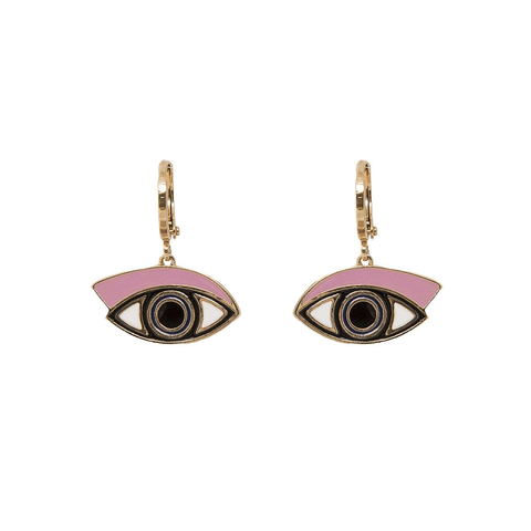 'Eye See You' Pink Hoop Earrings