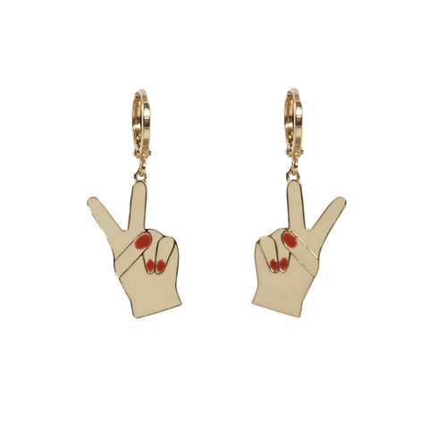 'Peace Out' Hands Hoop Earrings