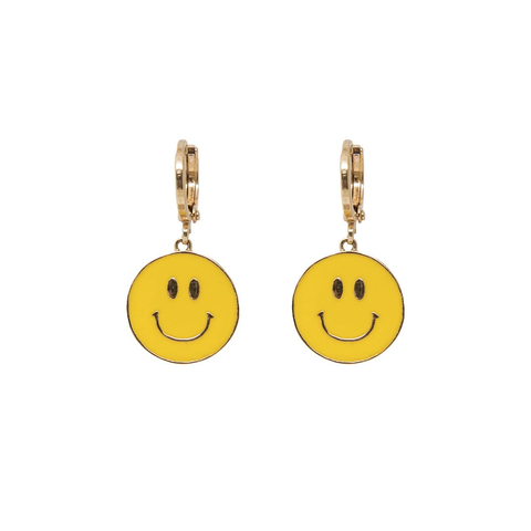 'Be Happy' Smiley Face Hoop Earrings