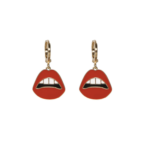 'Pucker Up' Lips Hoop Earrings