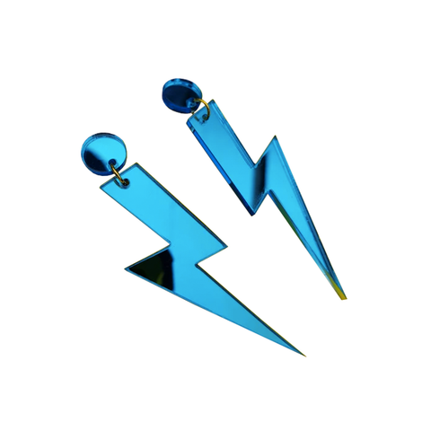 Lightning Bolt Earrings - Blue