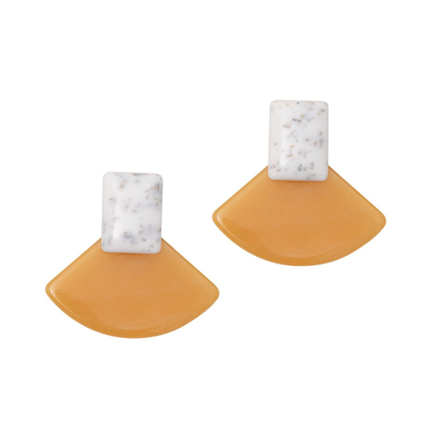 Colour Block Earrings (Yellow and Marble)