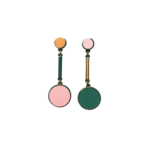Dot & Dash Drop Earrings - Orange, Pink and Green