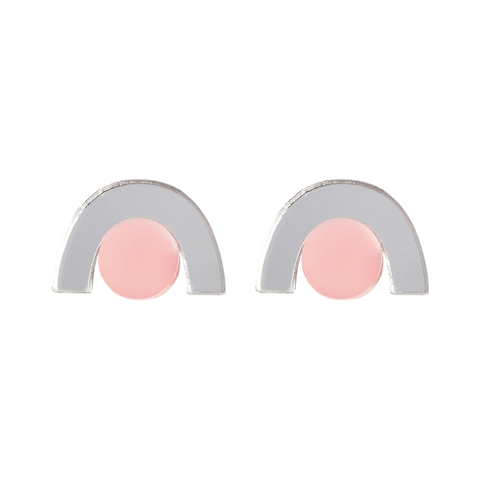 Faye Earrings - Silver and Peach
