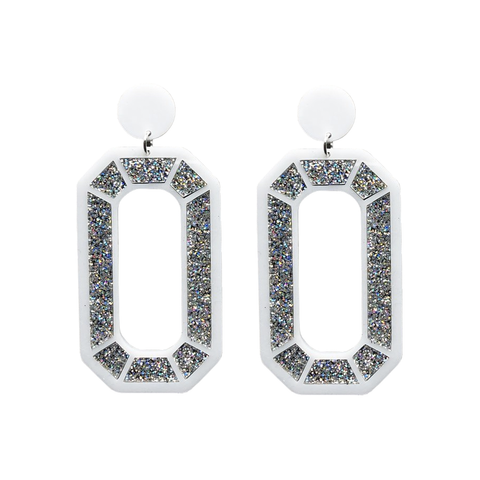 Mega Gem Earrings - Silver