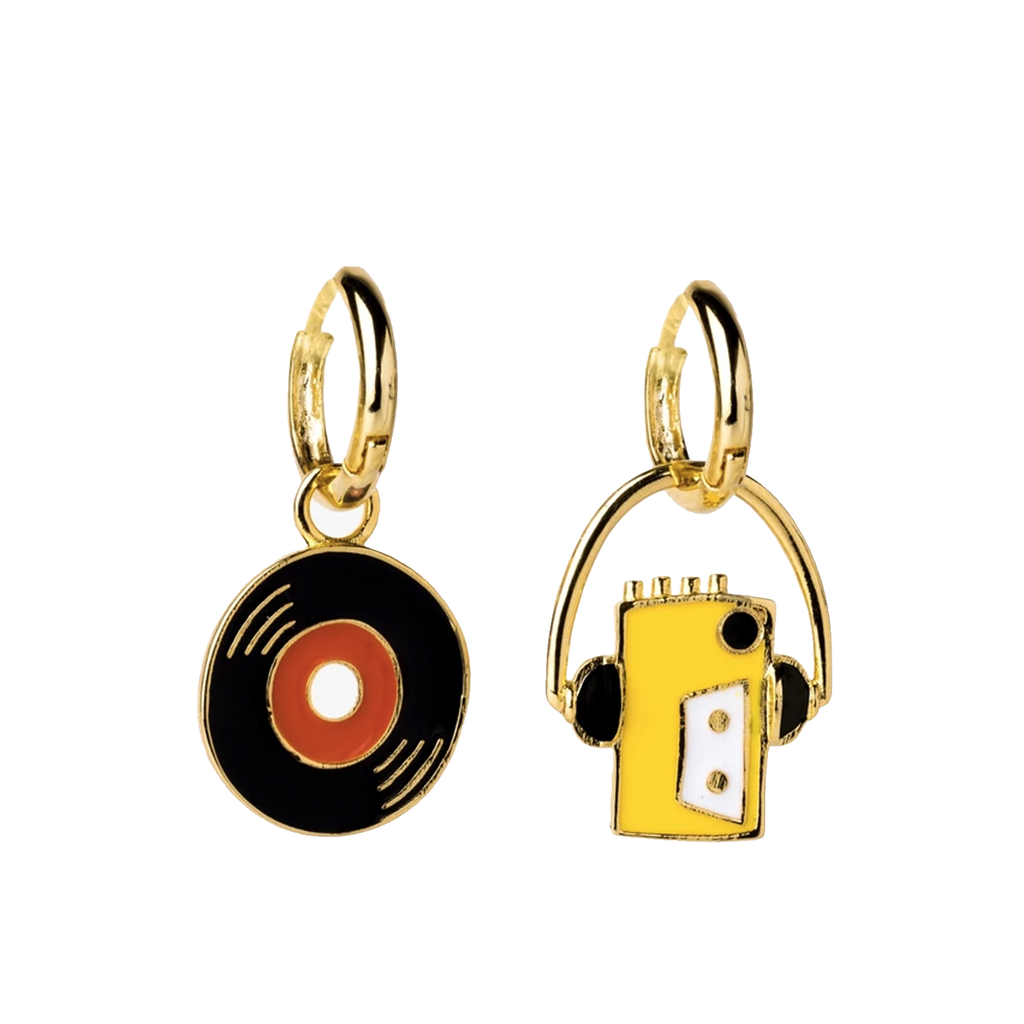 "Walkman & 7"" Hoop Earrings in Glass Bottle"