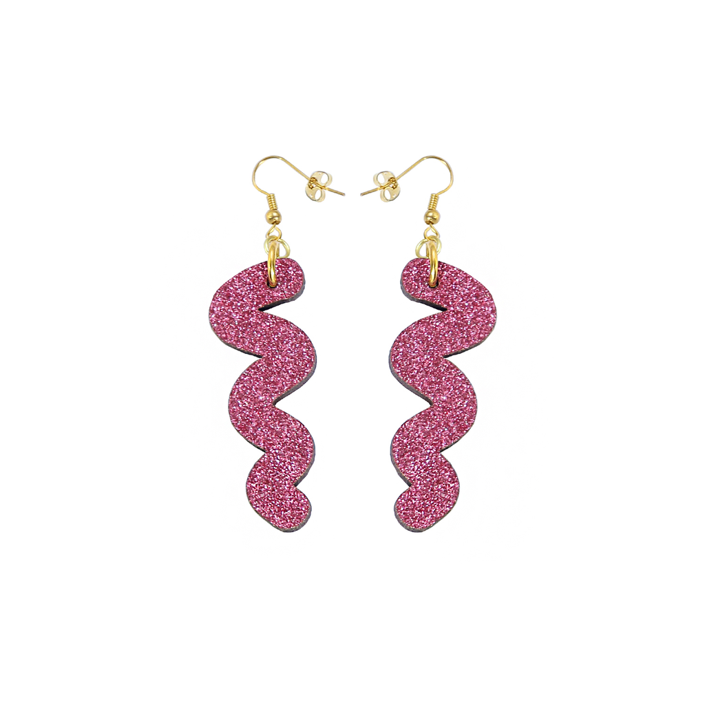 Squiggle Hook Glitter Earrings - Pink