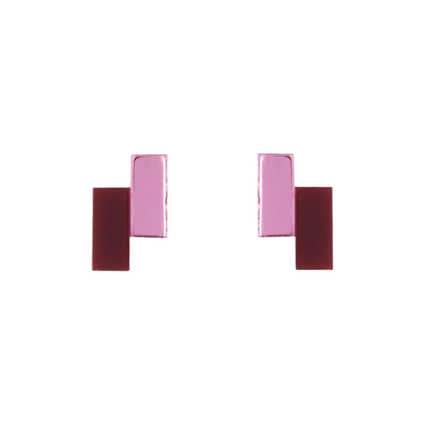 Zoe Earrings - Maroon and Rose
