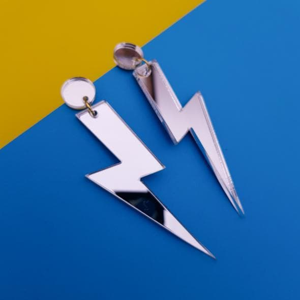Lightning Bolt Earrings - Silver