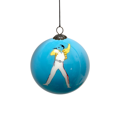 Freddie Mercury Hand Painted Bauble - Blue