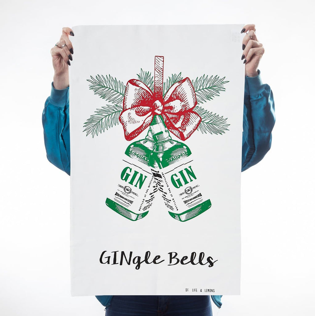Gin-gle Bells Tea Towel Kitchen Textiles - Teatowels Of Life & Lemons for We Built This City 1