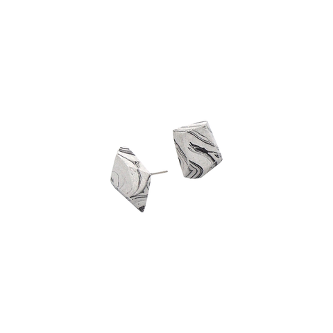 Marble Black Stud Earrings