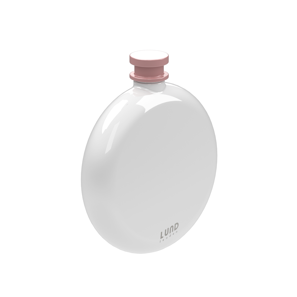 Skittle Round Hip Flask- White & Pink Homeware Lund London for We Built This City 1